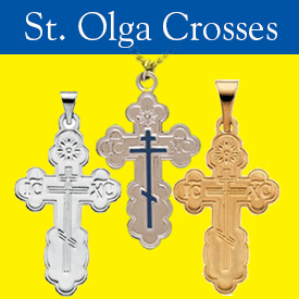 St Olga Crosses in Silver and Gold